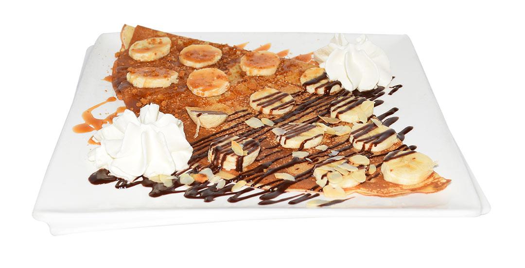 Crêpe bananes chocolat caramel proposée par la crêperie Crep'Show à Sainte Geneviève des Bois